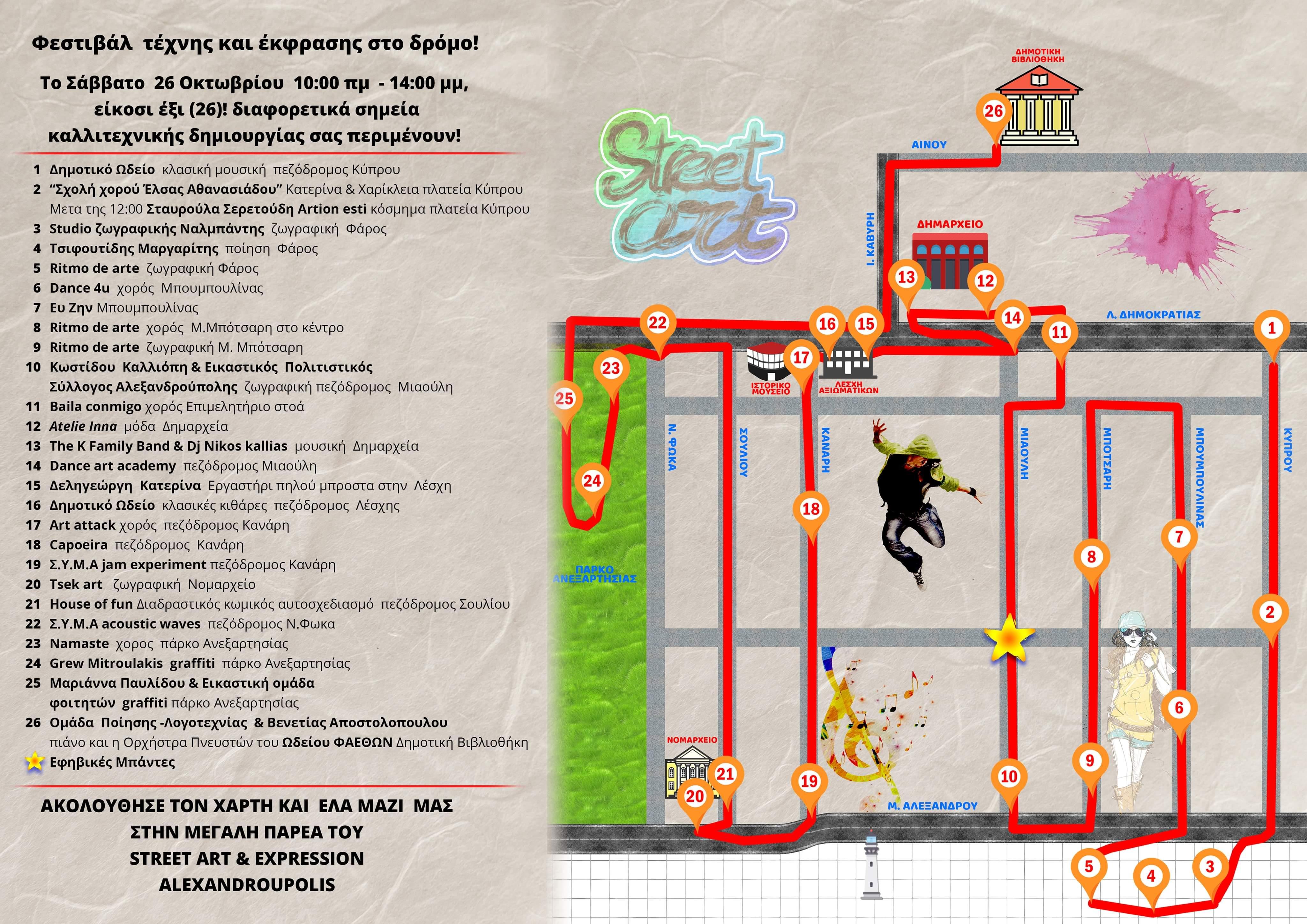 Φεστιβάλ τέχνης και έκφρασης στον δρόμο το Σάββατο 26 Οκτωβρίου στην Αλεξανδρούπολη