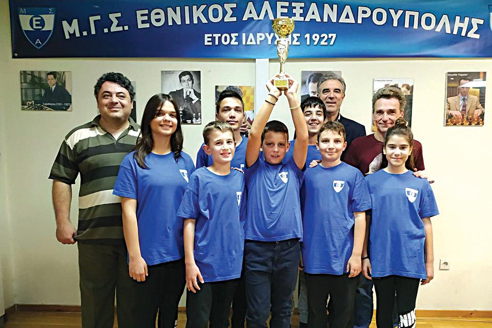 Σκάκι: Πρωταθλήτρια ομάδα παίδων - Κορασίδων ο Εθνικός στην Περιφέρεια ΑΜΘ